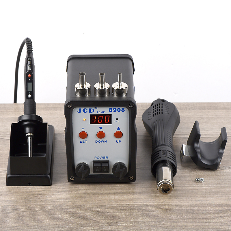 JCD 8908 2 in 1 Soldering Station SMD BGA Rework LCD Digital 750W Station Hot Air Heater Welding Repair Soldering Iron Tools