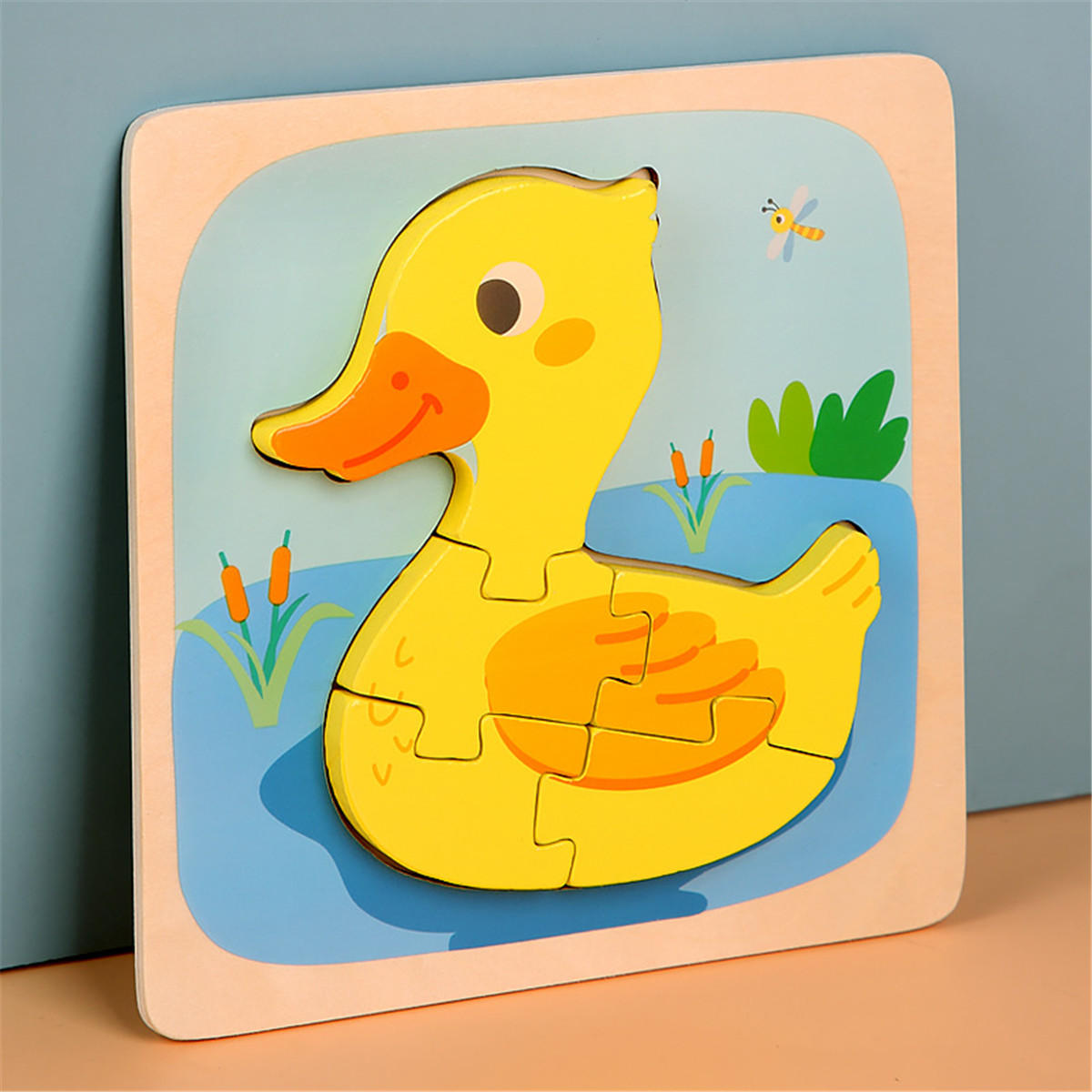 3D Animal Puzzle Learning Toys Wooden Jigsaw Puzzle Kids Early Educational Toys for Toddlers 1-4 Year Old Preschool Baby Boys Girls