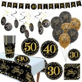 Black And Gold Background Shooting Set 30/40/50 Years Old Birthday Party Decoration For 16 People Adults Birthday Party Decoration Supplies