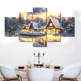 5 Panel Art Canvas Christmas Decor Interior No Frame Home Decoration Wall Pictures Living Room Wall Home Decor Supplies