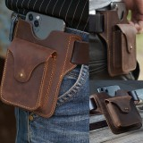 Men Genuine Leather Retro Solid Easy Carry Outdoor Sport Running 7.2 Inch Phone Storage Bag Waist Bag With Belt Loop