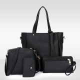 Fashion 4Pcs Large Capacity PU Leather Macbook Storage Crossbody Bag Shoulder Bag Handbag Purse Card Bag