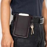 Men Genuine Leather Retro Easy Carry Car KeyChain Phone Bag Belt Bag Waist Bag With Belt Loop