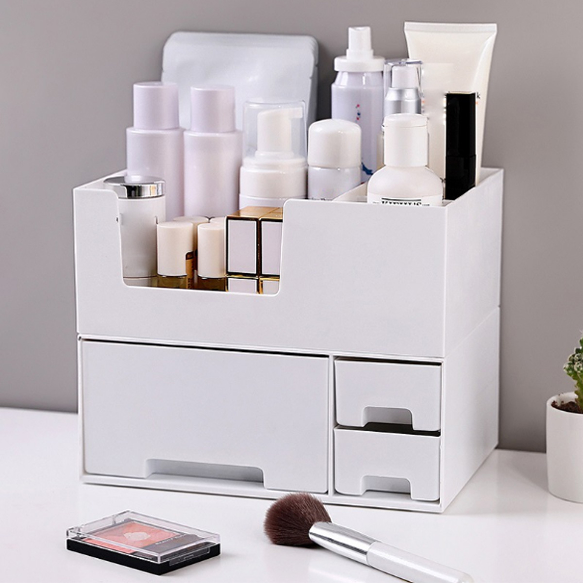 Cosmetics Storage Box Makeup Organizer 2 Layers Detachable Drawer Desktop Sundries Container Nail Polish Lipstick Storage Box Jewelry Case