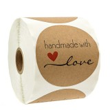 500Pcs/Roll 1.5 Inch Thank You Sticker DIY Round Kraft Label Handmade With Love Label Adhesive Sticker Packaging Gift