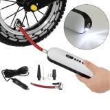 2-in-1 120 PSI 12V Bike Pump SB Charging Electric Air Pump Camping Light Cycling Portable Basketball Football Pump Tools with 4 Nozzle
