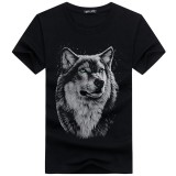 Summer 3D Printing Wolf Head Short-sleeved T-shirt Male Youth Tide Half-sleeved Tee Shirt Outdoor Sport Clothing