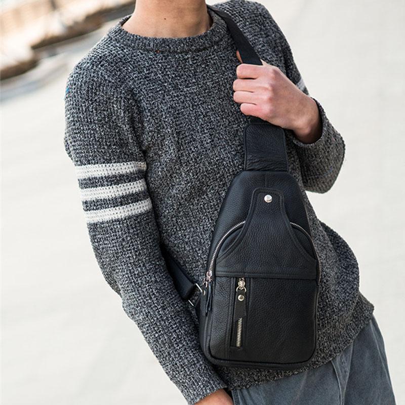 Men Genuine Leather Retro Large Capacity Crossbody Bag Chest Bag Sling Bag