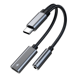 Kinmax 2 in1 Type-C to Type-C 3.5mm AUX Adapter HIFI Headphone Adapter Cable PD 60W Fast Charging TA2B-R