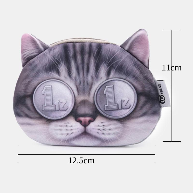 Women Cartoon 3D Cat Head Personality Cute Small Storage Bag Coin Bag