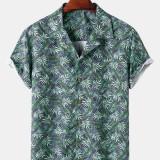 Tropical Leaves Print Mens Hawaii Casual Revere Collar Short Sleeve Shirts
