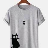 100% Cotton Cartoon Cat Print Round Loose Neck Short Sleeve T-Shirts
