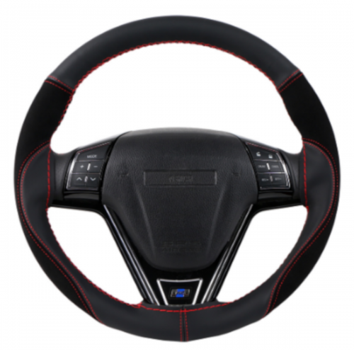 38CM Universal Resistant Leather Breathable Hand-stitched Steering Wheel Cover