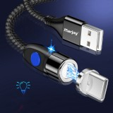 Marjay 3A 3 In 1 Magnetic Data Cable USB Type-C Micro USB LED Indicator Fast Charging Line For Mi10 Note 9S UMIDIGI A7 Pro ELEPHONE E10 DOOGEE X95 UMIDIGI S5 Pro ASUS ZenFone Max Pro