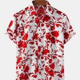 Mens Floral Printed Breathable Casual Short Sleeve Shirts