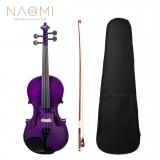 NAOMI Full Size 4/4 Basswood Violin Ebony Fingerboard KIT+Bridge+Case+Bow