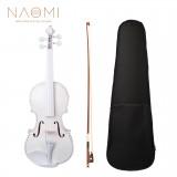 NAOMI 4/4 Full Size Plywood Violin Fiddle White Acoustic Violin Set