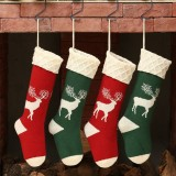 Unisex Knitted Christmas Socks Gift Bag Ornaments Home Decorations Elk Pattern Warm Tube Socks