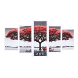 5Pcs Red Tree Canvas Paintings Wall Decorative Print Art Pictures Unframed Wall Hanging Home Office Decorations