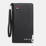 MEn PU Leather Lychee Pattern Multi-card Slot Clutch Bag Card Holder Wallet