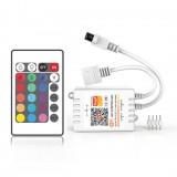 DC5-24V Tuya APP WiFi RGB LED Strip Light Controller with 24Keys IR Remote Control Work with Amazon Alexa