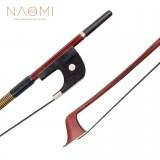 NAOMI German Style 4/4 Double Bass Bow Brazilwood Bow Ebony Frog W/ Paris Eye Inlay Black Mongolia Horsehair Bow