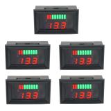 5Pcs 12-60V Digital Voltmeter Tester DC Panel Voltage Current Meter Tester Lead Acid Battery Capacity LED Indicator Display