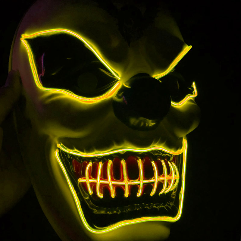 Clown El Cold Light Glowing LED Fluorescent Mask Halloween Tricky Scary Spoof Horror Glowing Props