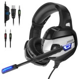 ONIKUMA K5 Gaming Headset Game Headphone Deep Bass USB 3.5mm Stereo Wired Headphone with Mic for PS4 Xbox PC Phone Laptop Computer
