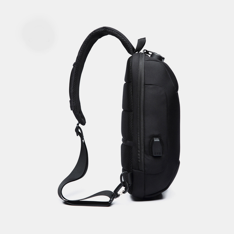 Men Anti-theft USB Charging Multi-Layers Waterproof Crossbody Bag Chest Bag Sling Bag