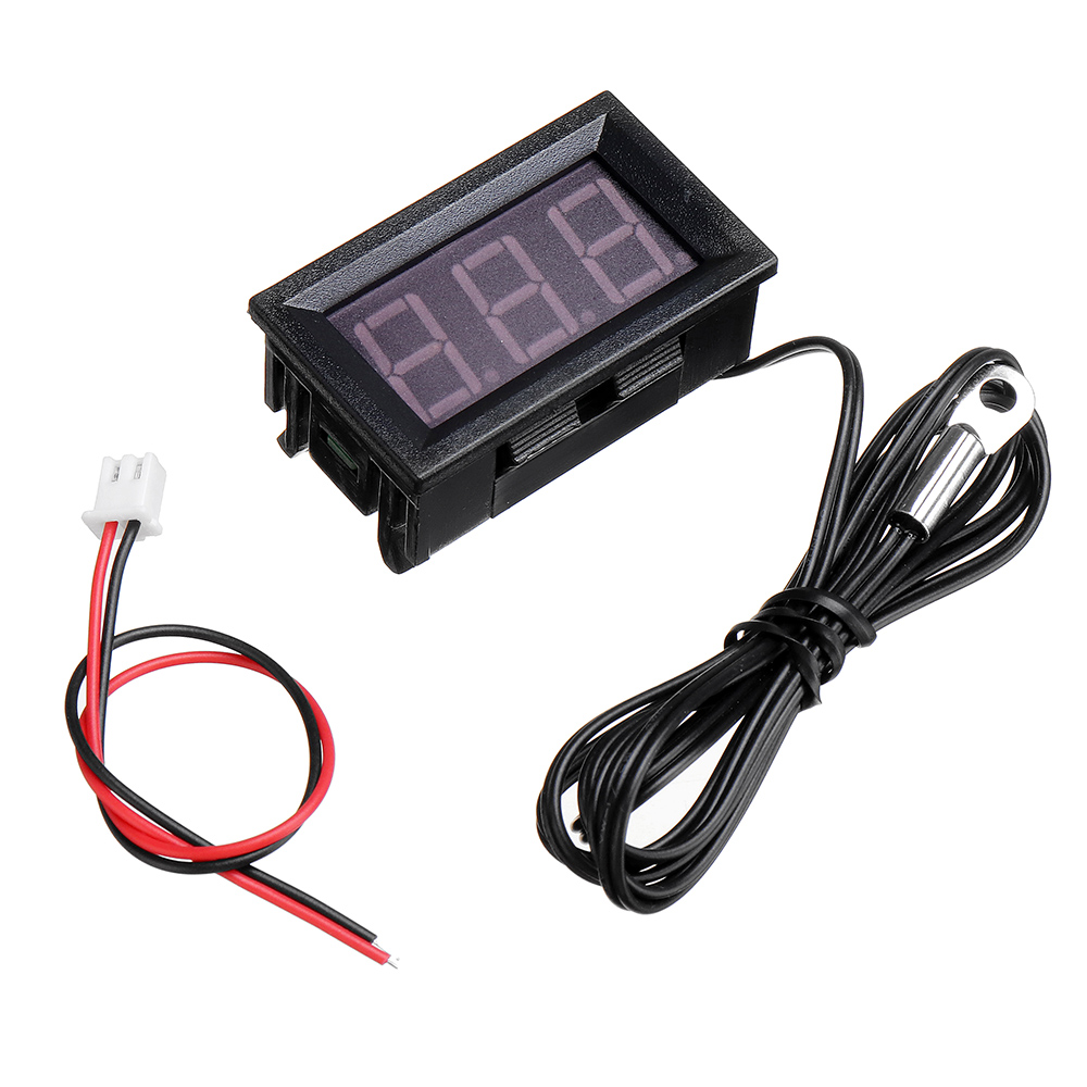 3Pcs 0.56 Inch Mini Digital LCD Indoor Convenient Temperature Sensor Meter Monitor Thermometer with 1M Cable -50-120 DC 5-12V
