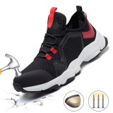 Men Steel Toe Safety Shoes Mesh Breathable Ultralight Non-slip Sneakers Outdoor Jogging Walking Running Shoes