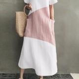 Women Cotton V-neck Short Sleeve Color Patchwork Pocket Loose Casual Maxi Dress