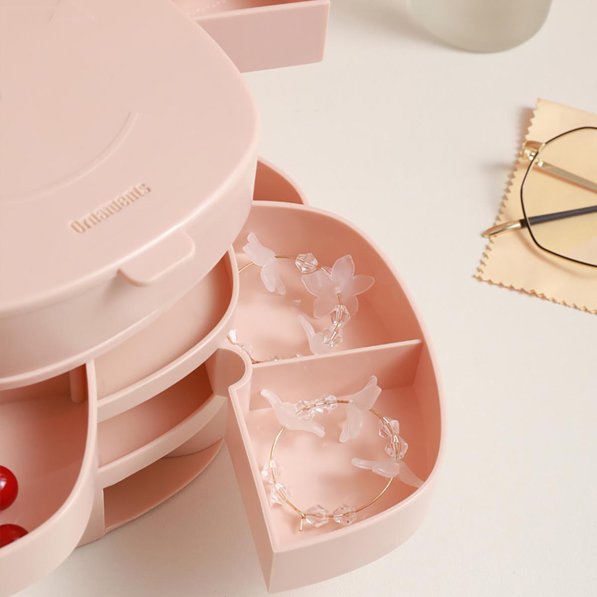 4 Layers Jewelry Storage Box Rotating Cosmetic Storage Box Desktop Storage Boxes Birthday Gift for Girls