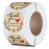 500pcs/lot Round Handmade With Love Stickers Scrapbooking Hand Made Handmade Label Wedding Stickers Adhesive Sticker Kraft Labels