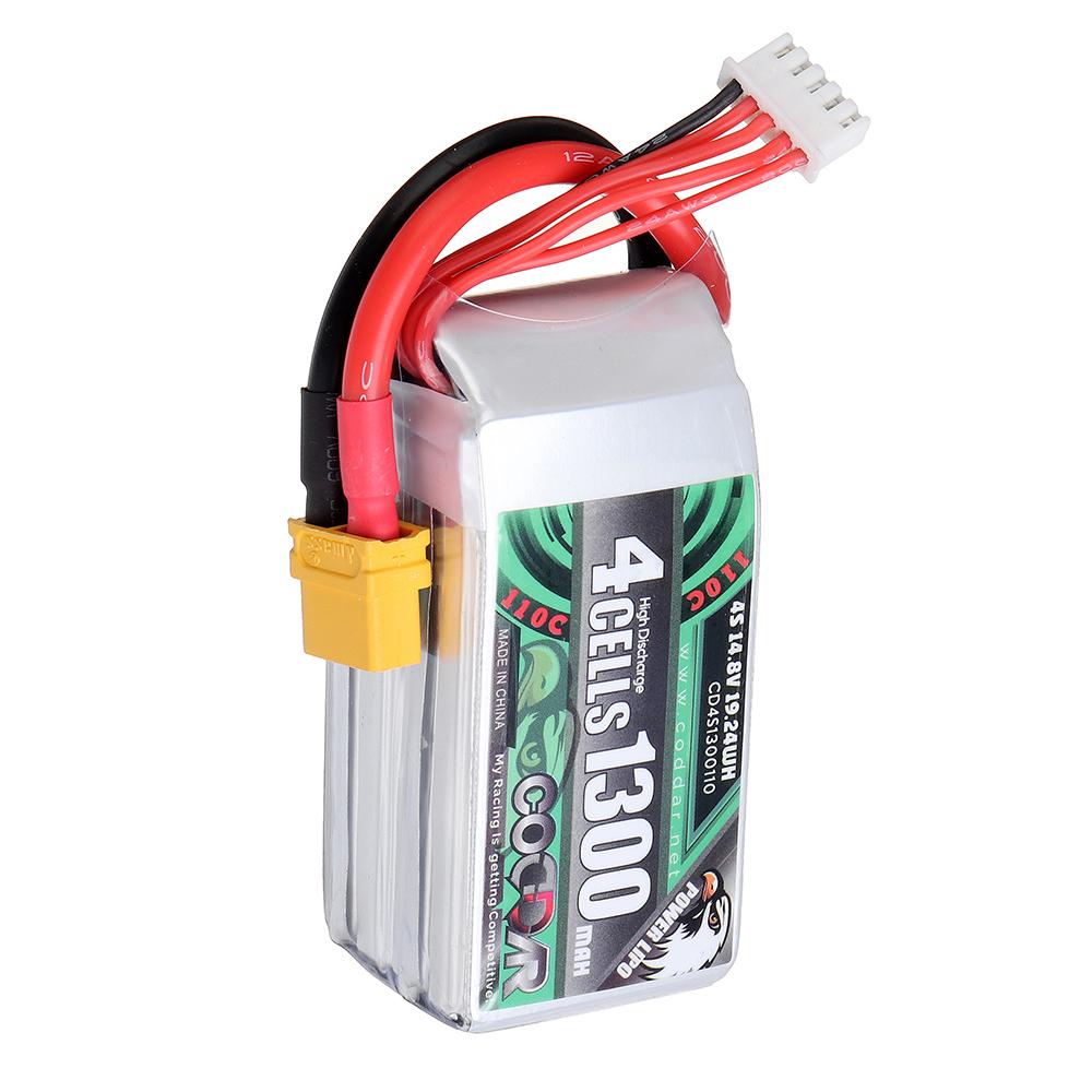 CODDAR 14.8V 1300mAh 4S 110C High Discharge Lipo Battery XT60 Plug for AlfaRC F2 Cineboy Cinewhoop Whoop