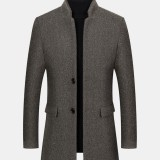 Mens Stand Color Mid Length Woolen Single-Breasted Thick Business Casual Coat