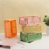Foldable Plastic Storage Box High Capacity Desktop Sundries Storage Basket for Office Dormitory Stationery Organizer