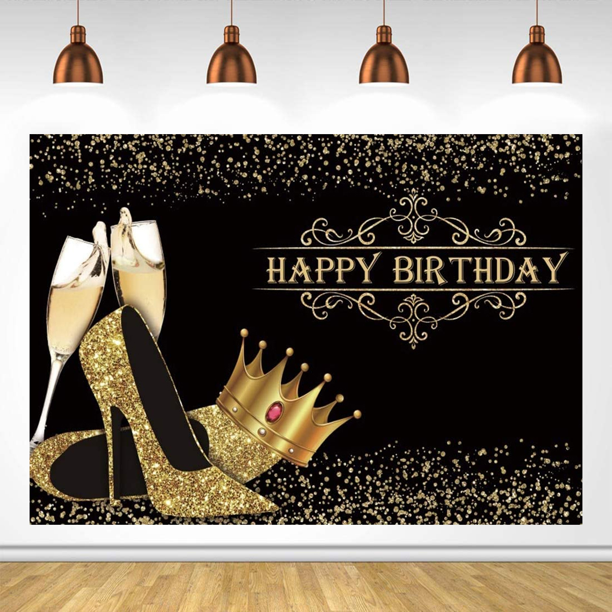Happy Birthday Backdrop Lady Birthday Prom Party Background Shiny Golden Crown High Heel Party Banner Birthday Photo Studio Props