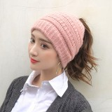 Women Warm Windproof Dual-use Ponytail Brimless Beanie Knitted Hat