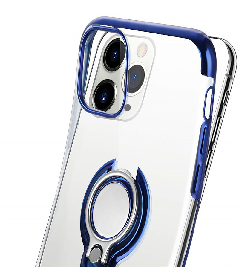 Bakeey for iPhone 12 Pro Max Case Plating Transparent with Ring Holder Shockproof Soft TPU Protective Case Back Cover