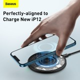 Baseus 15W Magnetic Wireless Charger PD QC Fast Wireless Charging Pad Aluminum Alloy+Tempered Glass For iPhone 12 for iPhone 12 Mini for iPhone 12 Pro Max Apple AirPods Pro For Samsung Galaxy Note 20 Huawei P40 Pro Xiaomi Mi10