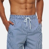 Mens Lightweight Blue Striped Quick Drying Beach Mesh Line Drawstring Casual Shorts