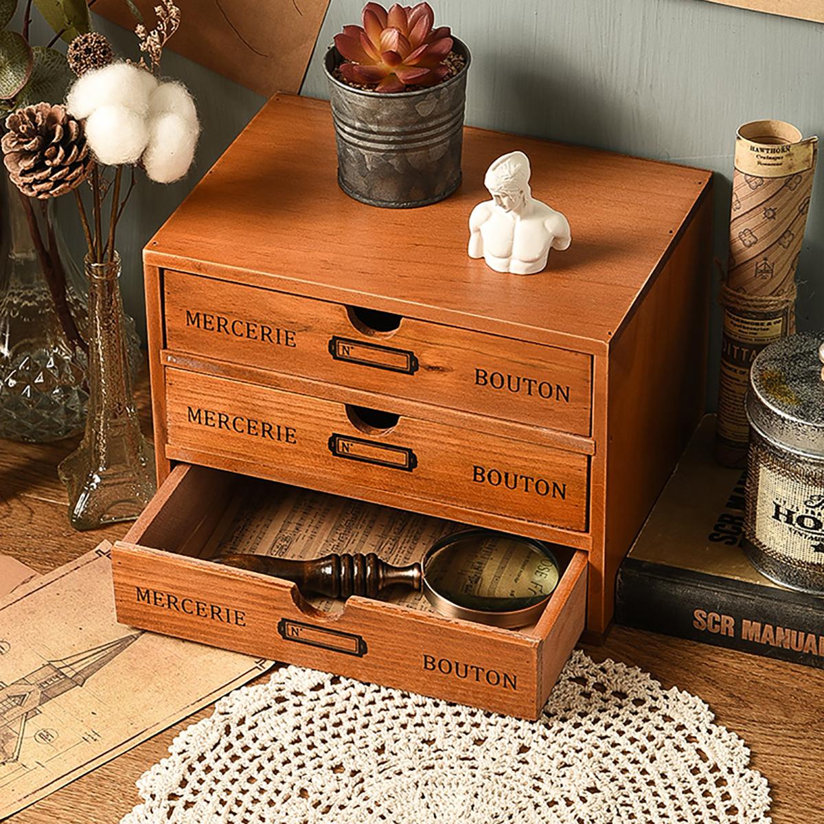 Wooden Drawer Storage Box Retro Desktop Storage Cabinet Sundries Finishing Box Jewelry Cosmetic Organizer for Office Home