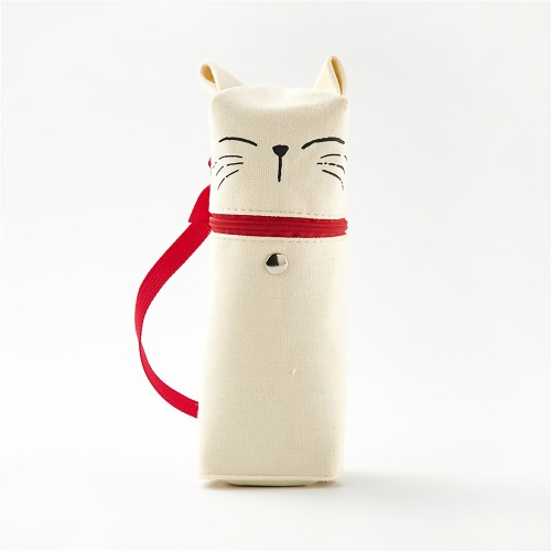 Angoo Lovely Kitty Pen Bag with Red Band Large Capacity Cute Cartoon Storage Pouch Stationery Office School Student Supplies