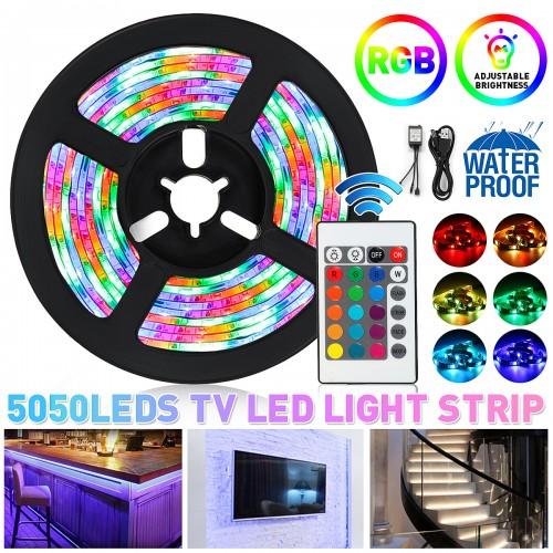 2PCS 50CM DC5V USB Powered LED Strip Light Waterproof 5050 RGB Computer TV Backlight Kit + Remote Control