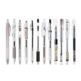 Dianshi DS-904/914/924 Netural Pen 0.38/0.5mm Nib Transparent Design Black Ink Gel Pen Writing Sketching Signing Pen For Students Office