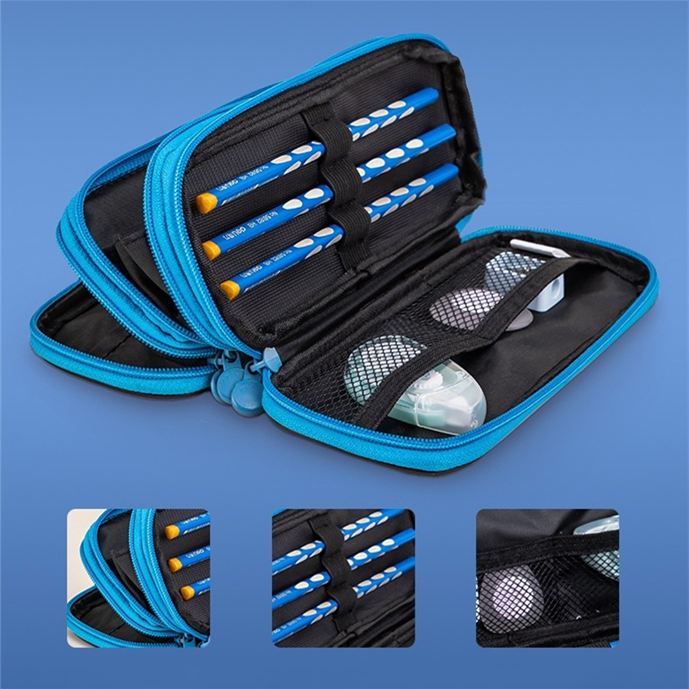 Large Capacity Pencil Case Box Three Layers Nylon Blue Red Pen Bag School Office Stationery Organizer Bags for Students