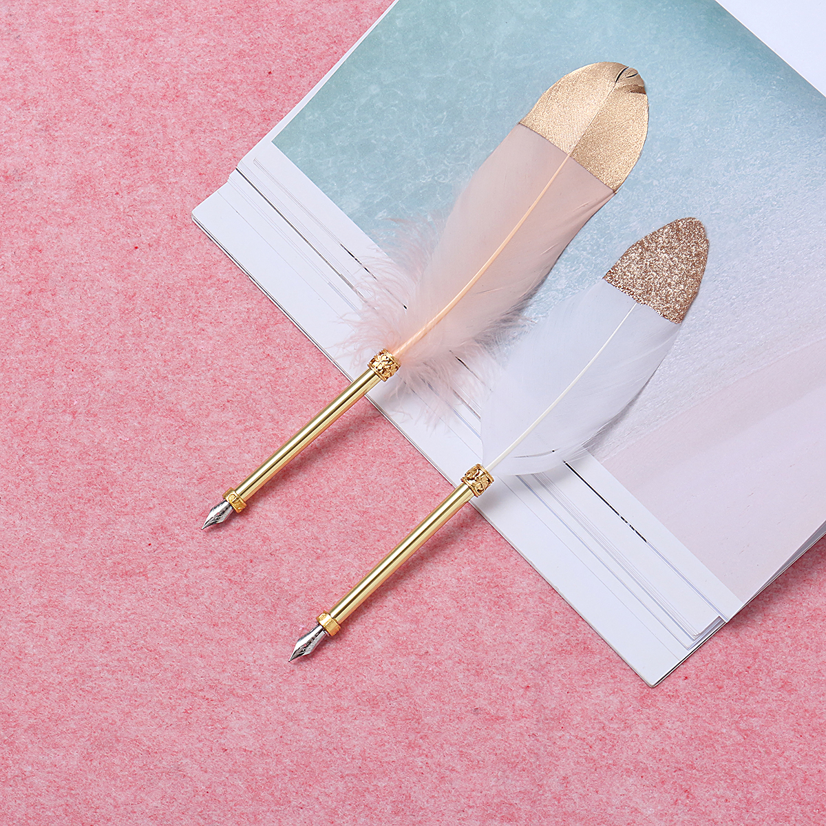European Retro Feather Fountain Pen Copper Pen Holder Office Bussiness Signing Pen with Gift Box