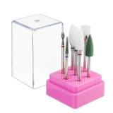 7Pcs Nail Art Polishing Grinding Head Electric Drill Bits Manicure Tool Box Grinding Head Brush Polishing Tool